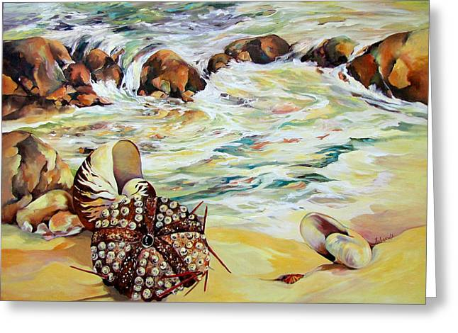 Greeting Card featuring the painting Shellscape by Rae Andrews