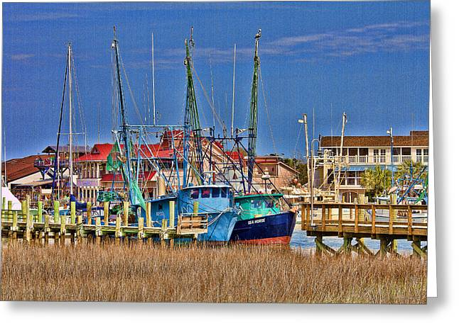 Shem Creek Shrimpers Greeting Card by Bill Barber