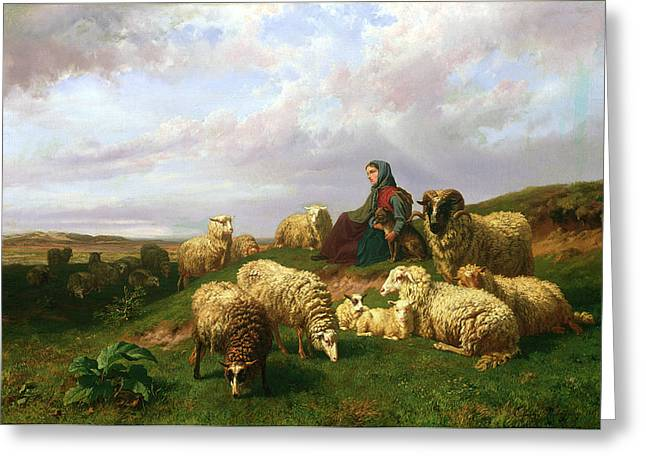 Shepherdess Resting With Her Flock Greeting Card by Edmond Jean-Baptiste Tschaggeny