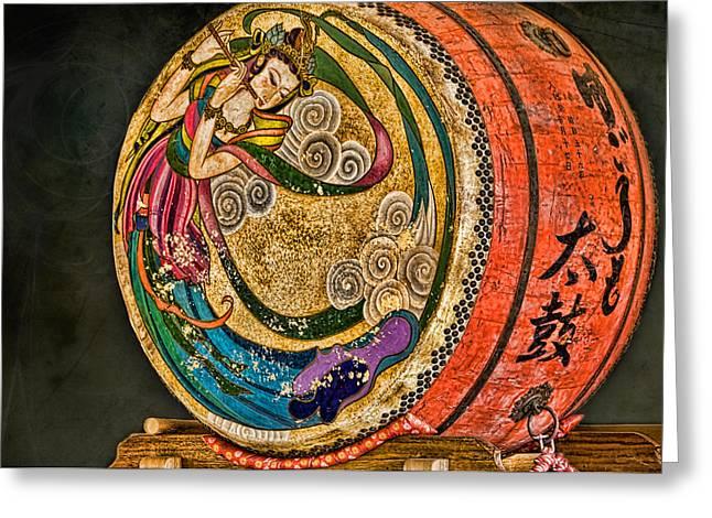 Shinto Drum Greeting Card by Karen Walzer