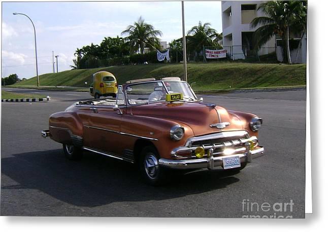 Shiny Cab At Varadero Beach Greeting Card by Laurel Fredericks