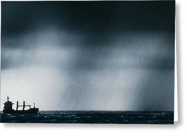 Ship At Sea Caught In Stormy Weather Greeting Card by Geoff Tompkinson