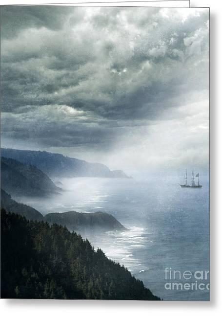 Ship Off Rugged Coast Greeting Card by Jill Battaglia