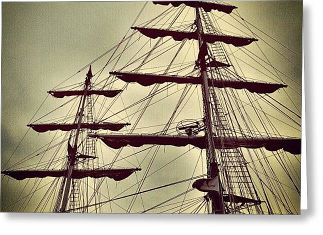 Ship Sales #sales #sky #clouds #wood Greeting Card