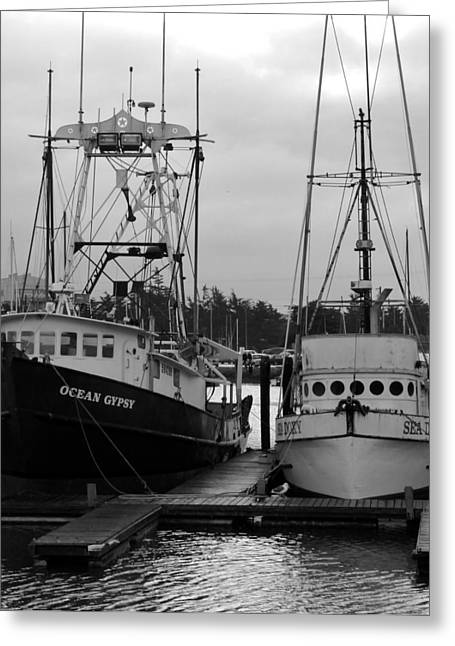 Ships At Anchor Greeting Card by Jeff Lowe