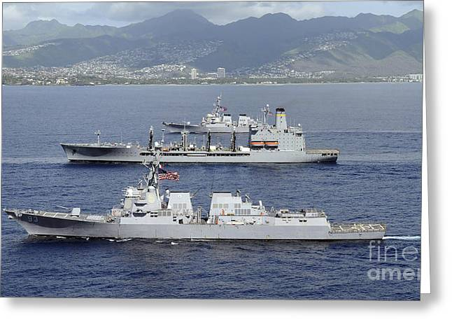 Ships Of The Pacific Fleet Sail Greeting Card by Stocktrek Images
