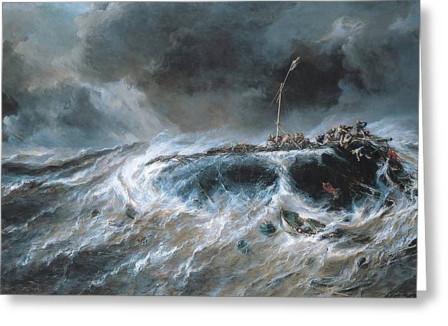 Shipwreck Greeting Card by Louis Isabey