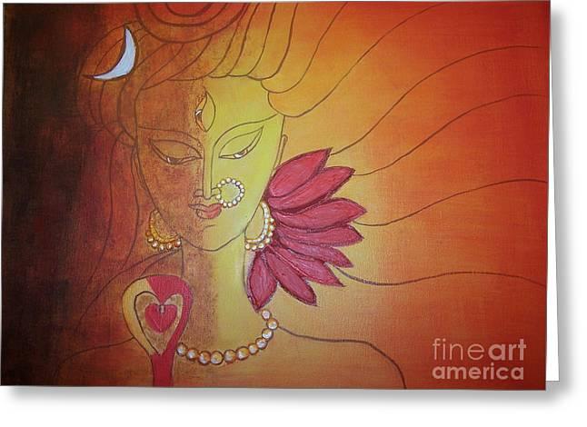 Shivshakti - Ardhnaarishwar Greeting Card by Anu Darbha