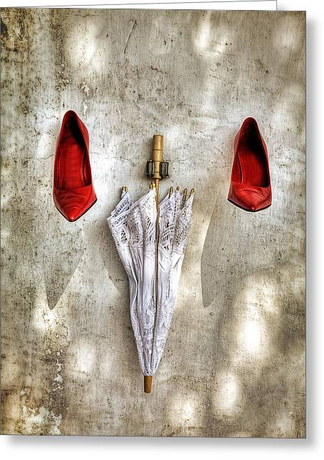 Shoes And Parasol Greeting Card by Joana Kruse