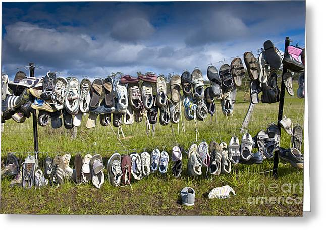 Shoes Hanging On Fence Greeting Card by Jacobs Stock Photography