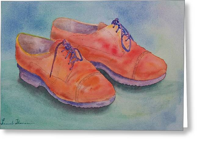 Shoes Of A Different Colour Greeting Card by Laurel Thomson