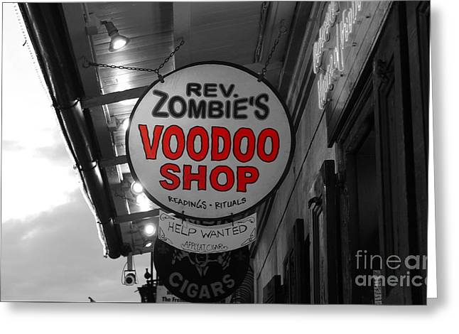 Shop Signs French Quarter New Orleans Color Splash Black And White Greeting Card by Shawn O'Brien