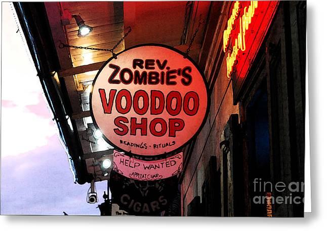 Shop Signs French Quarter New Orleans Fresco Digital Art Greeting Card by Shawn O'Brien