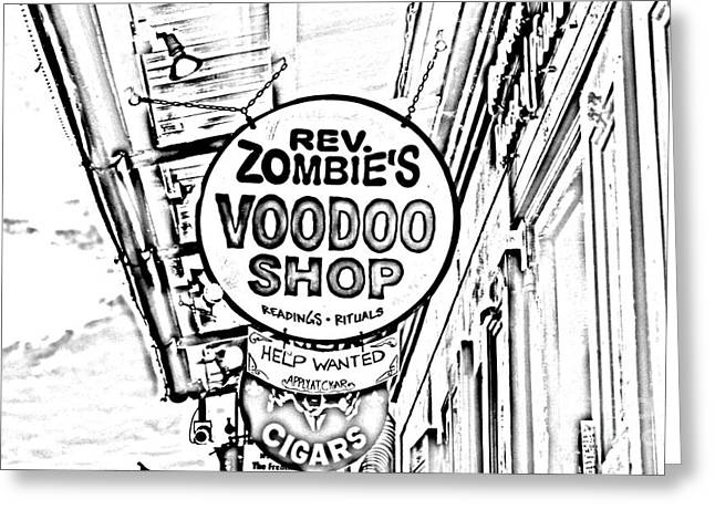 Shop Signs French Quarter New Orleans Photocopy Digital Art Greeting Card by Shawn O'Brien