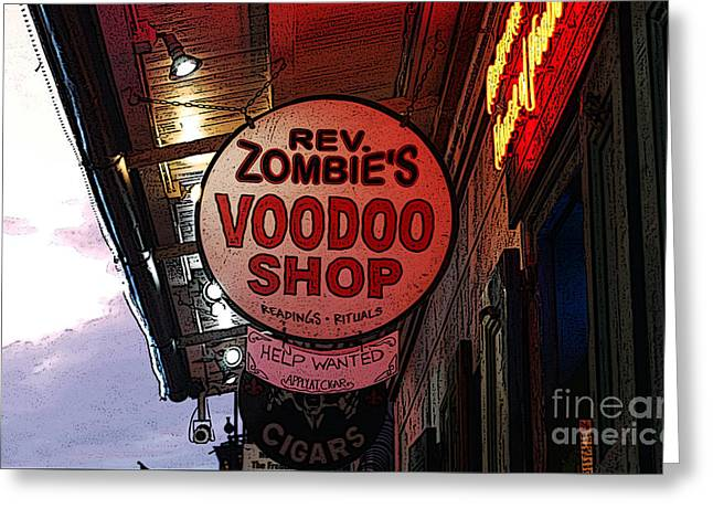 Shop Signs French Quarter New Orleans Poster Edges Digital Art Greeting Card by Shawn O'Brien