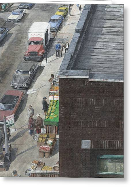 Greeting Card featuring the painting shopping bklyn ny 1970S by Stuart B Yaeger