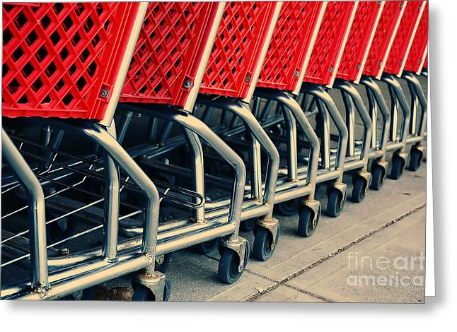Shopping Carts Greeting Card by HD Connelly