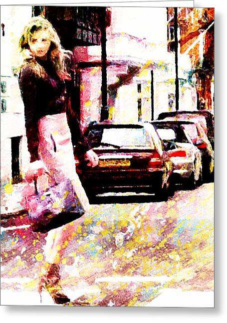 Greeting Card featuring the digital art Shopping Girl by Andrea Barbieri