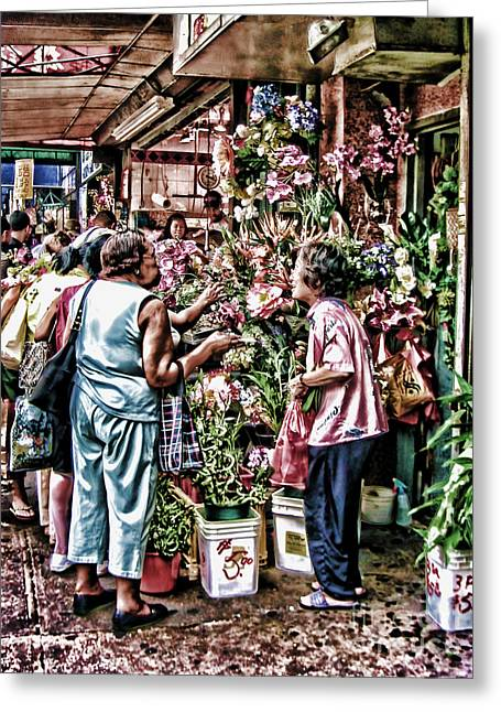 Shopping In Chinatown Greeting Card by Anne Ferguson