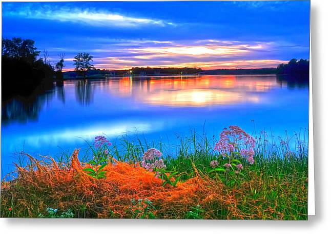 Greeting Card featuring the photograph Shoreline Sundown by Randall Branham
