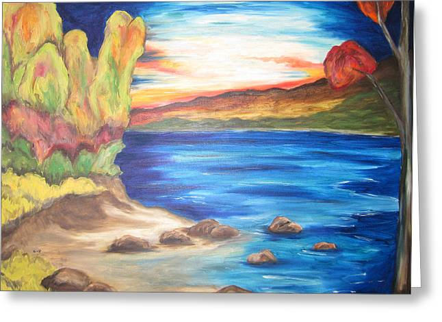 Greeting Card featuring the painting Shores Of Maine by Cheryl Pettigrew