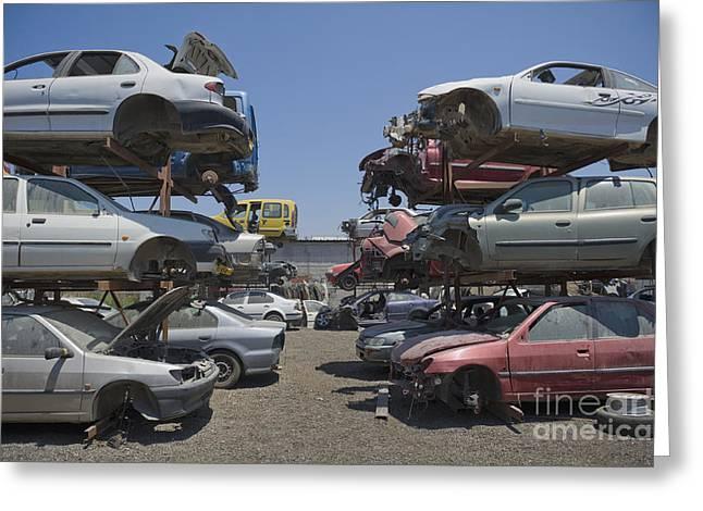 Shot Of Junkyard Cars Greeting Card