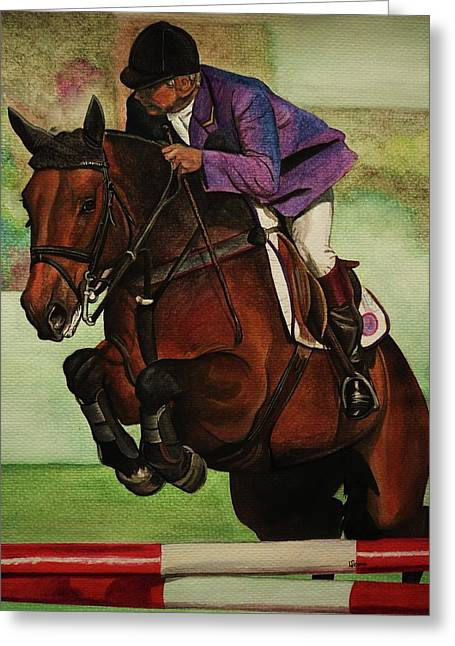 Show Jumping Greeting Cards - Showjumping Greeting Card by Lucy Deane