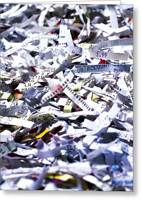Shredded Documents Greeting Card by Kevin Curtis