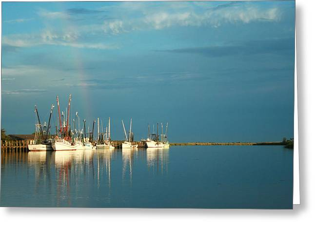 Shrimp Boats In Darien 2 Greeting Card by Mary Hershberger