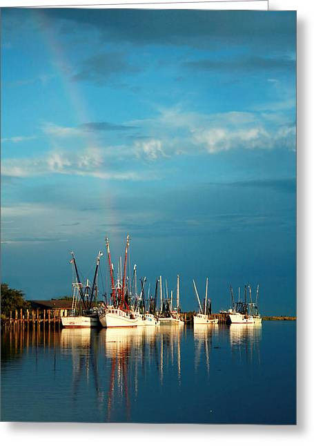 Shrimp Boats In Darien Greeting Card by Mary Hershberger