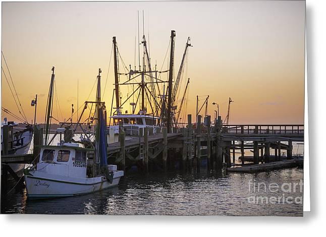 Shrimp Boats Port Royal Greeting Card by David Waldrop