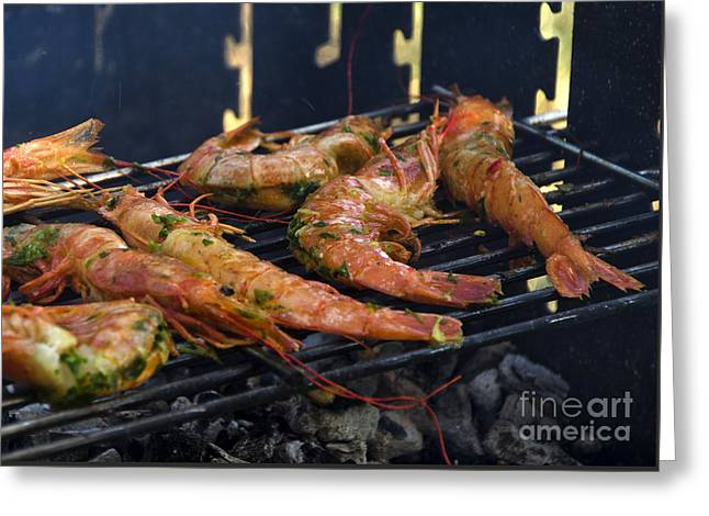 Shrimp On Bbq Greeting Card by Perry Van Munster