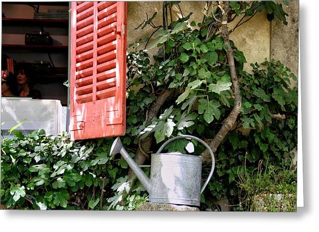 Shutters And Watering Can Greeting Card by Sandra Anderson