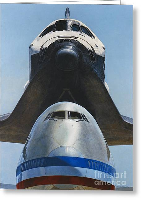 Shuttle Carrier Aircraft Greeting Card by Science Source