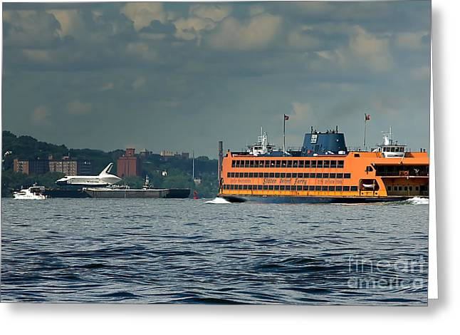 Shuttle Enterprise Glides Past Staten Island Ferry Greeting Card by Tom Callan