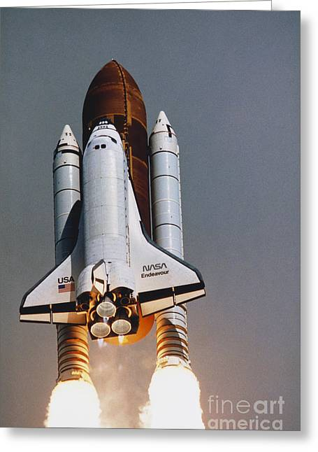 Shuttle Lift-off Greeting Card by Science Source