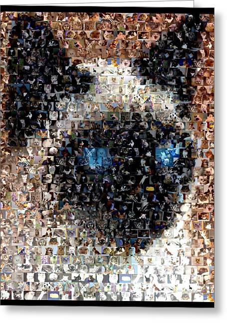 Siamese Cat Mosaic Greeting Card by Paul Van Scott