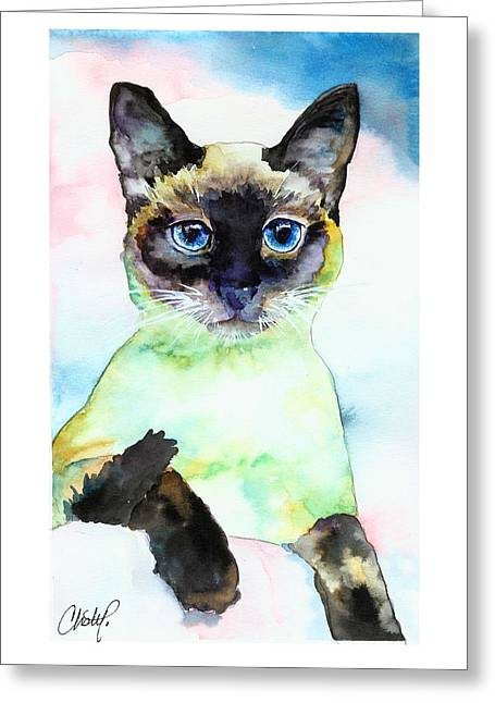Siamese Cat Posing Greeting Card by Christy  Freeman