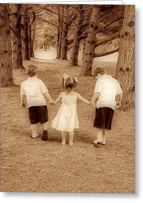 Siblings Taking A Walk Greeting Card by Trudy Wilkerson