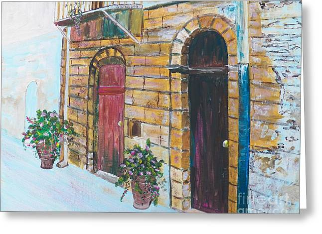 Sicilian Home Greeting Card by Judy Via-Wolff