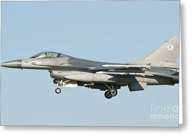 Side View Of A Dutch F-16 Aircraft Greeting Card by Giovanni Colla