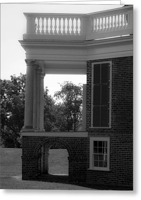 Side View South Portico Bw Greeting Card