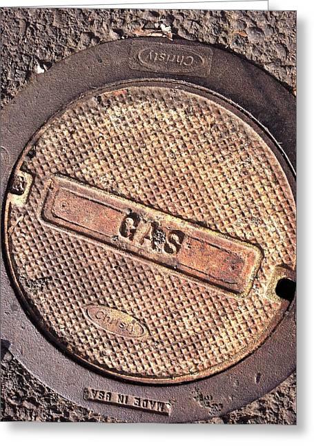 Sidewalk Gas Cover Greeting Card by Bill Owen