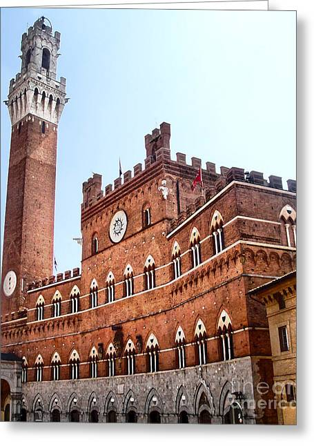 Siena Italy - Torre Del Mangia Greeting Card by Gregory Dyer