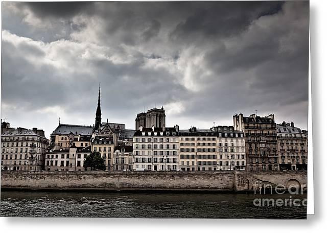 Siene River Scene Paris Greeting Card by Ei Katsumata