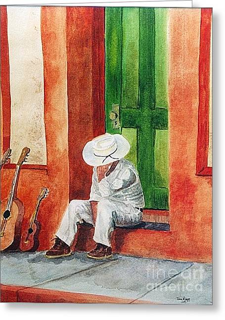 Greeting Card featuring the painting Siesta Time by Tom Riggs