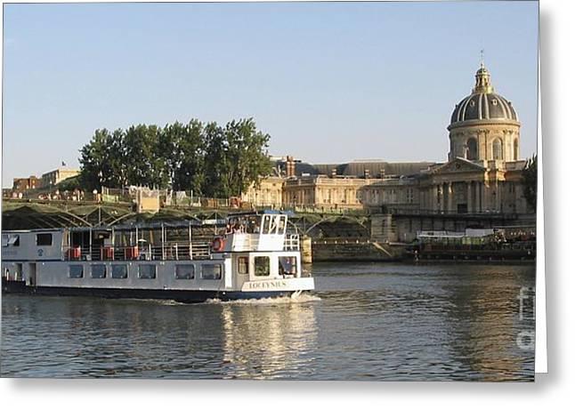 Sightseeing Boat On River Seine. Paris Greeting Card by Bernard Jaubert