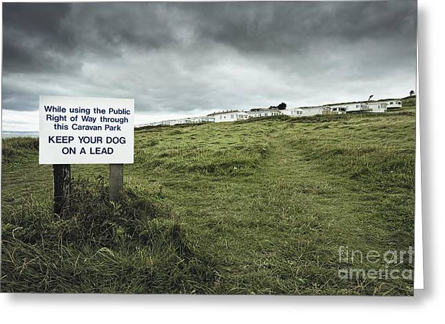 Sign At Caravan Park Greeting Card by Jon Boyes