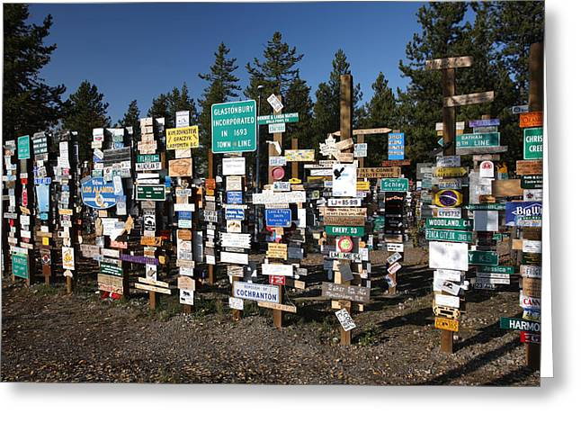 Sign Posts Forest In Watson Lake Yukon Greeting Card by Mark Duffy
