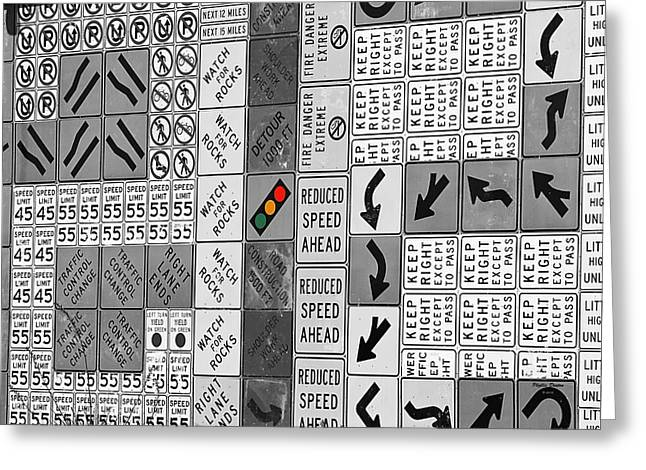 Signs Black And White Greeting Card by Phyllis Denton